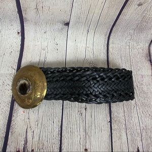 Black braided leather belt w/brass buckle